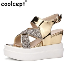 Coolcept Size 32-42 Ladies High Wedges Sandals Platform Ankel Strap Summer Shoes Club Party Trifle Sandal Female Footwears