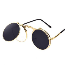 Hot Sale Vintage Steampunk Sungalsses Round Metal Frame Glasses clamshell flip Sunglass  Seam Punk Sun Glasses OCULOS de sol