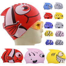 2017 High Quality Cute Children Cartoon Swim Caps Rubber Silicon Swimming Cap Diving Waterproof Fish Shark Pattern Water Sports(China)