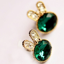 EK049 Hot Fashion Pendientes New Crystal Green Gem Rabit Stud Earrings For Women Jewelry Accessories Cheap Wholesale Boucles