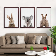 Kawaii Animals Rabbit Art Prints Poster Nursery Wall Picture Canvas Painting Kids Room Decor No Frame FG0105(China)