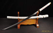 Handforged japanese White Sword Samurai Katana folded steel Blade naginata Sharp cyclone tsuba(China)