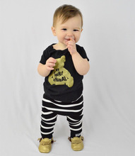 2017 Summer New baby boy clothes fashion cotton Short sleeve golden cartoon t-shirt+pants 2pcs newborn baby girl clothing set(China)