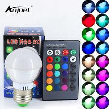 ANJOET 3W RGB LED Lamp E27 110V 220V Spotlight Lampada LED Bulbs Christmas Lanterna Bombillas LED Bulb E27 With Remote Control(China)