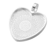 10pcs/lot 25mm Heart Cabochons Settings Silver Plated Pendants Bezel Trays Base Fit 25mm Glass Cabochon DIY Necklace Making
