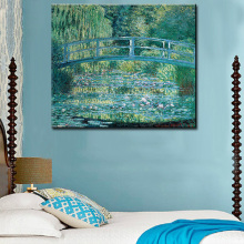 wall Picture oil painting Bridge over a Pond of Water Lilies Artist Claude Monet impress painter print wall painting No Framed(China)