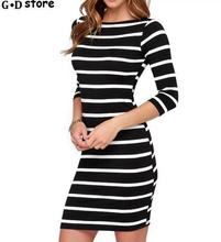 Everyday Dresses For Women Slimming Wrap Women's Fashion Clothing Autumn 2017 Casual Striped Bodycon Dress