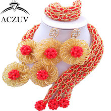 ACZUV Latest Opaque Red Gold AB Crystal Beaded African Jewellery Designs Nigerian Wedding Beads Jewelry Set C3F002