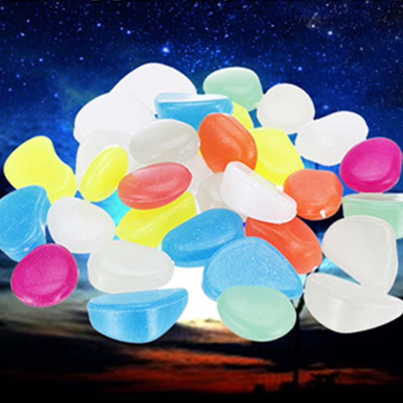 100 Mixed Glow In The Dark Pebbles Stones Luminous For Outdoor Garden Aquarium