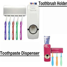 1 Sets/Lot New Hot Bathroom Accessories Automatic Auto Toothpaste Dispenser with 5 Toothbrush Holder Set Wall Mount