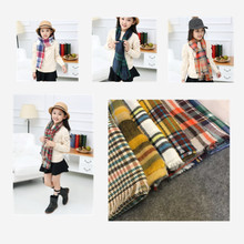 Mom and Me Brand Blanket Scarf Square and Long Winter Women Girls Plaid Cashmere Kids Shawl Scarves 2pcs/set
