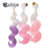 Eunice Hair Extensions White/Pink 2 Tone Ombre Body Wave Hair Bundles Sew in Weave Synthetic Hair High Temperature Fiber Texture(China)