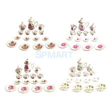 15Pcs Flowers Pattern 1/12 Dollhouse Miniature Dining Ware Tea Ware Porcelain Tea Set Tea Cup Plate Dish Pot(China)
