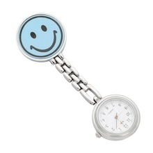 Nurses Lapel Watch Clip-on Smiley Face BLUE Pendant Pocket Quartz Red Cross Brooch Nurses Watch Fob Hanging Medical Pocket Watch
