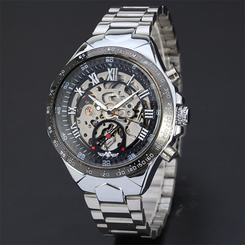 NEW Fabulous Russian Skeleton Automatic Watches For Men Silver Stainless Steel Wrist Watch Drop Shipping #0217<br><br>Aliexpress