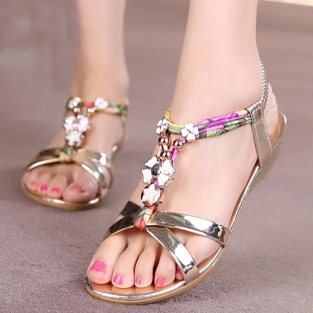 Mujer Sandalias 2017 Women Shoes Fashion Sandals Flowers Printing Slipper Summer Bohemian Sandals Beach Shoes zapatos mujer Top<br><br>Aliexpress