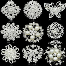 9 Styles High Quality  Wedding Bridal Bouquet Rhinestone Crystal Decoration Silver plated Flower Faux Pearl Brooch Pin Jewelry