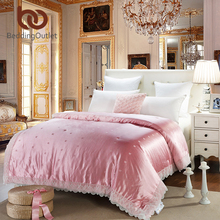 BeddingOutlet Pink Quilt Solid Smooth Mulberry Silk Comforter for Girls Room Lace Duvet Twin Queen King Bedding(China)
