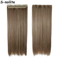"ash brown mix bleach blonde Heat Resistant Hair 26"" Long Straight 3/4 Full Head Clip In hair Extensions Synthetic Hairpiece"