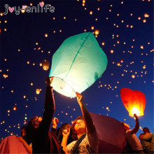 JOY-ENLIFE 5pcs 14inch Wishing Lamp Round Paper Chinese Lanterns Flying Paper Sky Lanterns Wedding Decor Hen Party Supplies