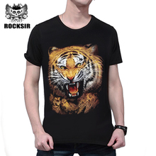 Rocksir 2017 hot sale O-Neck animal print men's t-shirt 3D tiger realistic print top tees summer style men clothing t shirt men