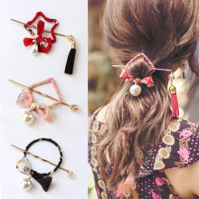 New Chinese National Style Round Square Bows Pearl Print Hair Sticks Women Elegant Hair Pins Headband Lady Hair Accessories