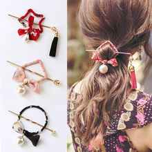 New Chinese National Style Round Square Bows Pearl Print Hair Sticks Women Elegant Hair Pins Headband Lady Hair Accessories(China)