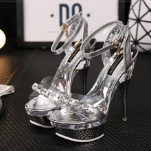 Hot Sale 14cm or 18cm Extra High Heels  Sandals Women Pumps Sexy Rhinestone Transparent Platform Sandals  Pole Nightclub Shoes