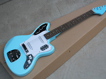 Factory Wholesale Sky Blue Body Electric Guitar with 2 Open Pickups,Vintage Knobs,Dot Fret Marks Inlay,Offer Customized(China)