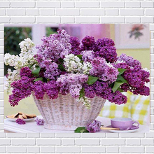 Diamond painting DIY kit kid toy lilac flower basket floral  baby room living room dining hall home hotel office shop deco