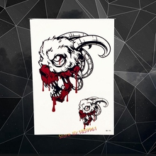 Cool Black Spray Goat Skull Head Temporary Tattoo Flash Large Body Art Tattoo Paste 21x15CM Wall Sticker Men Armband Chest Totem