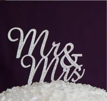 Free Shipping Sparkles Silver Crystal Rhinestone Cake Topper Wedding Monogram Mr & Mrs Cake topper Wedding Keepsake Cake Decors