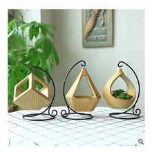 Cerami hanging levitating flower pot to decorate balcony mini garden pot planter box Container Ornament  metal stand for plant