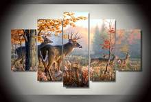 5 Pieces/set Home Decoracion Beautiful Deers Wall Art Pictures For Living Room Printed Canvas Painting Photos