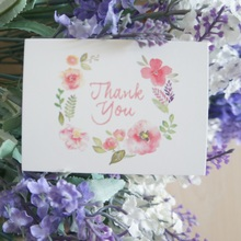 50pcs Mini thank you Card garland watercolour leave message cards Lucky Love valentine Christmas Party Invitation Letter(China)