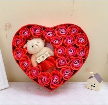 Valentine gift Soap rose flower (gift packing) 20pcs rose +1 bear + heart box Romantic gift Heart soap rose birthday gift flower