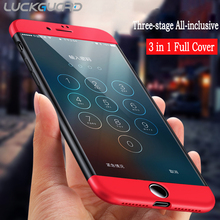 LuckGuard Luxury 360 Degree Full Body Cover Case For iPhone 7 6 6s 5 5s se s Case For iPhone 7 6 6s Plus Red Phone Capa Coque