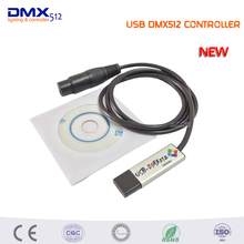 Free shipping LED DMX512 Computer PC Stage Lighting Controller Dimmer USB to DMX Interface Adapter With CD