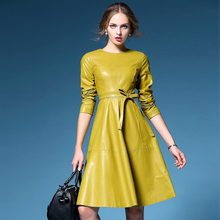 Women Unique Design PU Leather Runway Dresses 2016 Autumn Winter New Long Sleeve Big Swing Dress Yellow Black In Stock