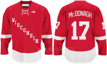 Wisconsin Badgers #17 Ryan McDonagh Red College Hockey Jersey Embroidery Stitched Customize any number and name Jerseys(China)