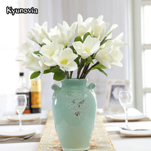 Kyunovia Simple style orchid Fake Flower Fleur Wedding Home Decor Party accessory Floral Silk Artificial Magnolia Flower KY10(China)