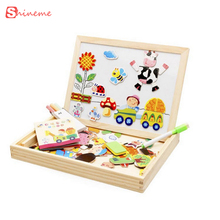 Kids toys Magnetic puzzles for children girls boys learning education wooden Toys 3d Puzzle animals board games drawing board(China)