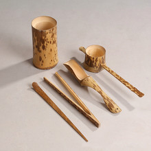 creative bamboo tea tools set four piece tea pet Services and displays kungfu tea accessories pure natural handmade homerafts