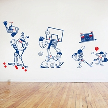 2016New Original Design/Cute Robot Design Style/Removable Waterproof Vinyl Cartoon Sports wall Sticker/Nursery/Boys Bedroom,k001(China)