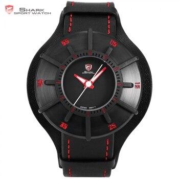 Sedoso shark reloj del deporte 3d craft negro top rojo de lujo marca de Relojes de Los Hombres Correa de Cuero Genuina Banda de Nuevo Caso de reloj de Cuarzo/SH483