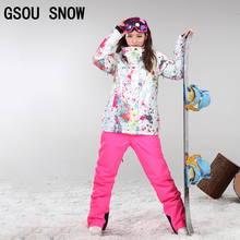 Gsou snow Women Ski Jacket Outdoor Winter Ski Suit Womens Waterproof Windproof Snowboard Coat DHL3-7(China)