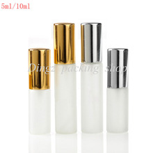 50pcsX5ml/10ml empty perfume sprayer bottle 10cc frosted glass bottle refillable perfume atomizer(China)
