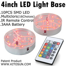 Free shipping! Super Bright 9pcs RGB LED 4inch LED Light Base For Glass Cup Decor