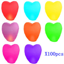 [ Fly Eagle ] 100pcs X Wishing lamp, heart shape Sky Lanterns,SKY CHINESE LANTERNS BIRTHDAY WEDDING PARTY 7 Colors to choose(China)