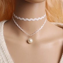 Fashion Retro hollow Lace Crystal imitation pearl skull Pendant Torques Vintage Wedding Choker Multilayer Necklace Women Jewelry